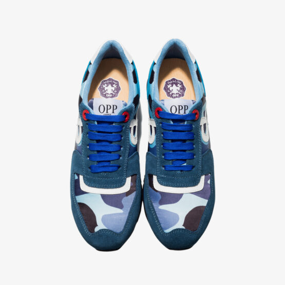 Lace-Up Paint Sneakers Blue