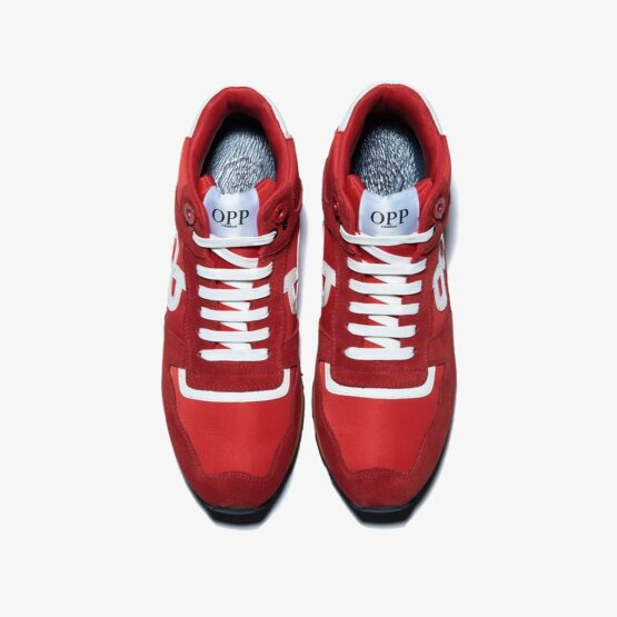 High Top Lace-Up Suede Sneakers Red