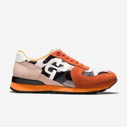 Lace-Up Paint Sneakers Orange