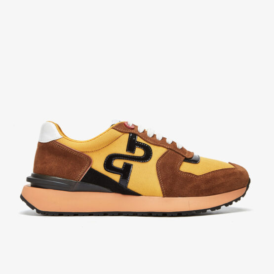Lace-Up Suede Sneakers Yellow