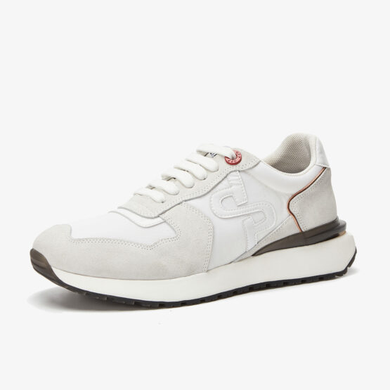 Lace-Up Suede Sneakers White