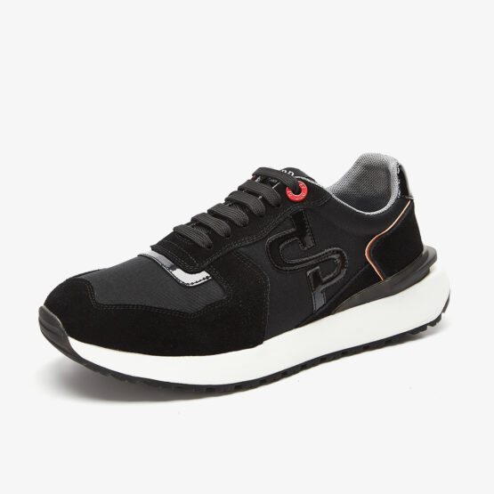 Lace-Up Suede Sneakers Black