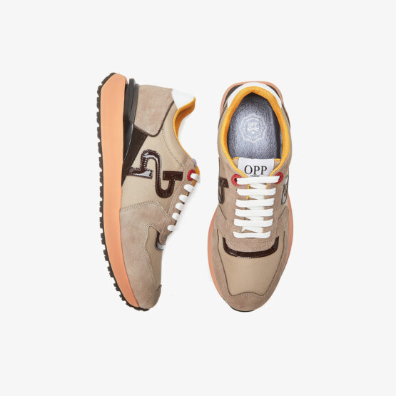 Lace-Up Suede Sneakers Khaki