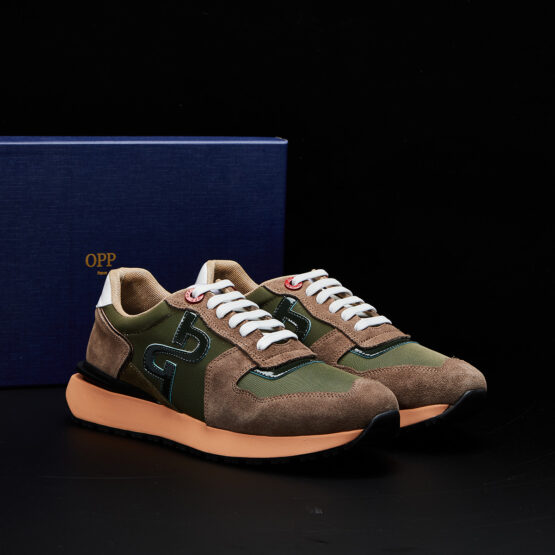 Lace-Up Suede Sneakers Green