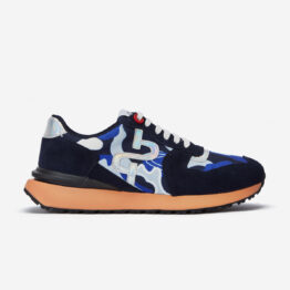 Lace-Up Suede Sneaker Navy Blue