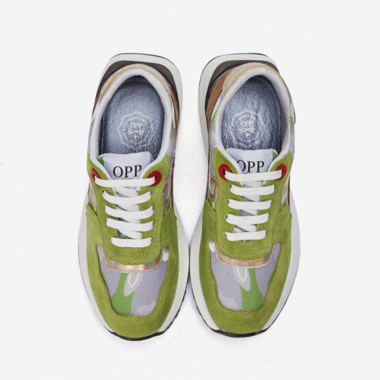 Women Lace-Up Suede Sneaker Tea green