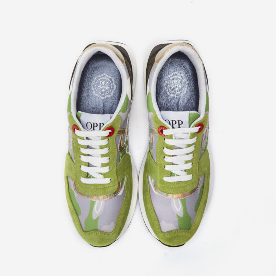 Lace-Up Suede Sneaker Tea Green
