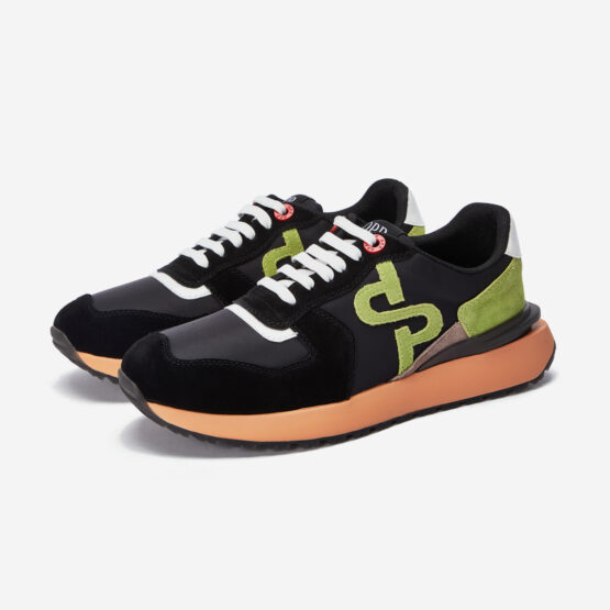 Lace-Up Suede Sneaker Black