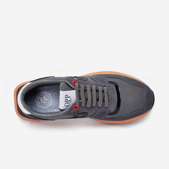 Lace-Up Suede Sneaker Gray